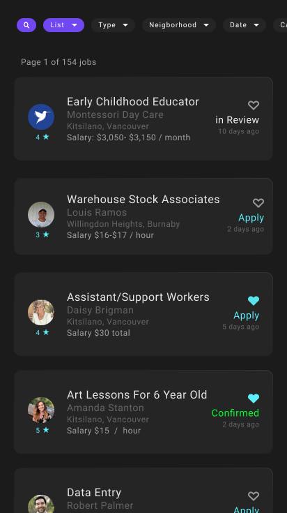 Jobs list view